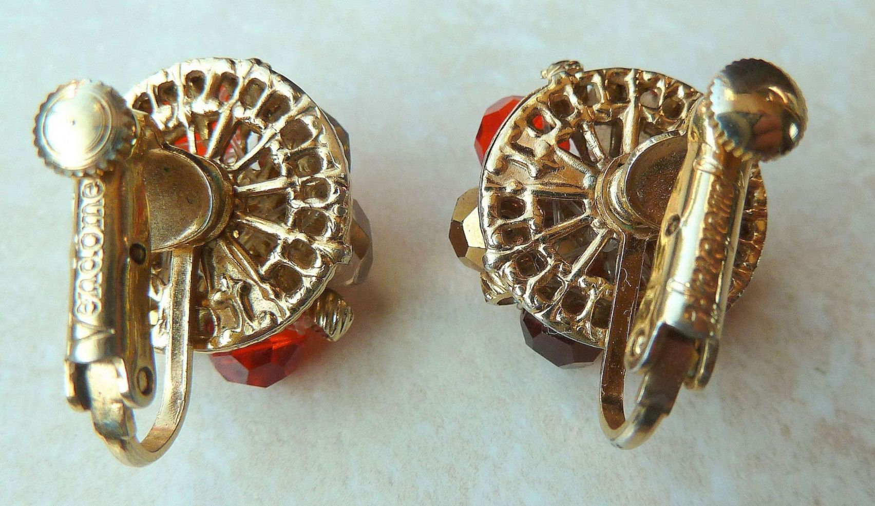 Vintage Vendome Beaded Clip On Earrings